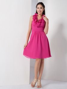 Halter Top Short Hot Pink Junior Bridesmaid Dress with Flowers