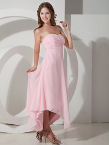 Lace-up Baby Pink Maid of Honor Dress with Asymmetrical Hem