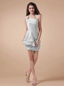 Fast Shipping Halter Top Ruched Gray Mini Bridesmaid Dress