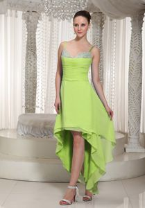High-low Spaghetti Straps Yellow Green Maid of Honor Dresses