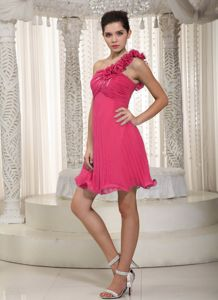 Affordable One Shoulder Pleated Coral Red Dress for Bridesmaid