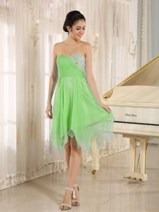 Short Beach Bridesmaid Dresses Spring Green with Beading