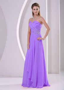 Sweetheart Beaded Chiffon Wedding Bridesmaid Dress in Purple
