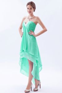 Spring Wedding Bridesmaid Dress High-low with Beading Green