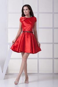 Red Scoop Beach Bridesmaid Dresses with Black Bow Belt