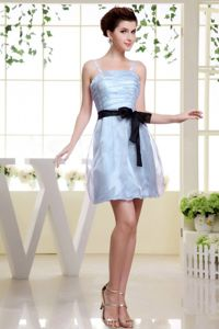 Short Light Blue Sell Bridesmaid Dress with Ruche Spaghetti Straps