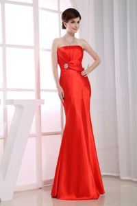 Mermaid Strapless Taffeta Beaded Bridesmaid Dresses Online Red