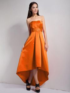 Orange Red High-low Bridesmaid Dress Designs with Appliques