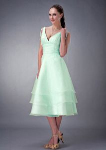 V-neck Bridesmaid Dress Ideas Apple Green Organza Tea-length