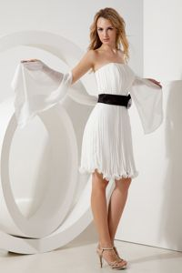 Mini-length Strapless White Bridesmaids Dresses with Black Belt