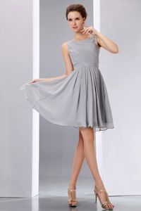 Under 100 Mini-length Scoop Pleated Grey Bridesmaids Dresses