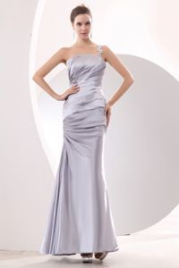 Silver One Shoulder Ruched Ankle-length Dresses for Bridesmaid