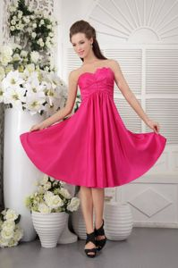 Knee-length Strapless Ruched Junior Hot Pink Bridesmaid Dresses