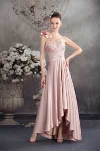 Hand Made Flower One Shoulder High-low Bridesmaids Dresses