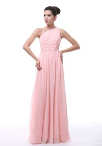 Best Pink One Shoulder Ruched Chiffon Dresses for Bridesmaid