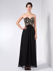 New Sweetheart Appliqued Beading Black Dresses for Bridesmaid