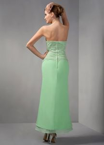 Apple Green Strapless Ankle-length Appliqued Bridesmaid Dress