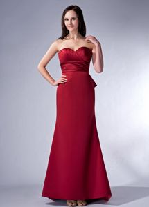 Affordable Wine Red Sweetheart Bridesmaid Dress with Bow Back