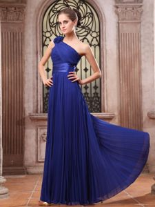 One Shoulder Hand Made Flower Royal Blue Bridesmaid Dress