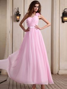 Pink Hand Made Flower One Shoulder Sash Bridesmaid Dresses