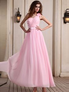 Best Ruched Ankle-length Sash Chiffon Pink Bridesmaids Dresses