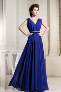 Best V-neck Chiffon Royal Blue Dresses for Bridesmaid with Belt