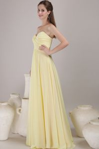 Light Yellow Sweetheart Ruched Floor-length Bridesmaids Dress
