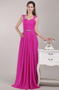 Straps Beaded Ruched Chiffon Empire Hot Pink Bridesmaid Dress
