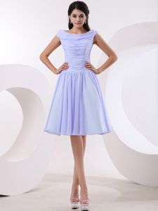 Bateau Lilac Custom Made Bridesmaid Dresses with Ruched Bodice