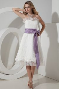 Strapless Short Trendy Bridesmaid Dresses Tea-length Lace Bow