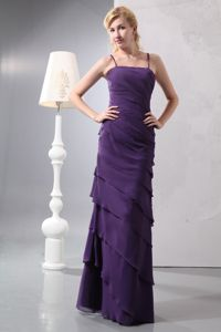 Elegant Column Straps Purple Maid of Honor Dress with Tiers