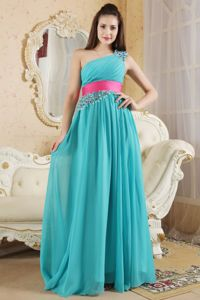 Affordable Teal Empire One Shoulder Beaded Bridesmaid Dress