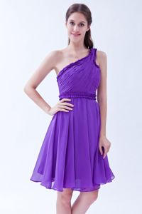 One Shoulder Ruched Short Light Purple Dresses for Bridesmaid