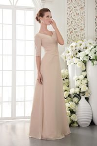 Clearance V-neck Half Sleeves Peach Maid of Honor Dresses