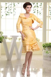 Taffeta Yellow Short Junior Bridesmaid Dress with Flounced Hem