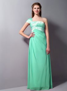 Special One Shoulder Beaded Apple Green Bridesmaid Dresses