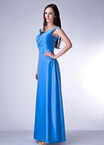 Hot Sale Lace-up V-neck Sky Blue Long Junior Bridesmaid Dress