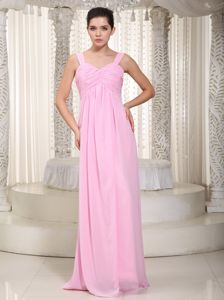 Customized Empire Straps Ruched Baby Pink Bridesmaid Dress