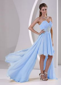 High-low Ruched Beaded Light Blue Maid of Honor Dresses Shop