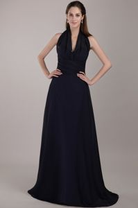 Brush Train Halter Top Backless Navy Blue Dress for Bridesmaid