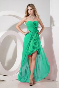 High-low Green Bridesmaid Dress with Flowers and Embroidery