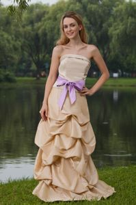 Champagne Long Dresses for Bridesmaid with Pick-ups and Sash