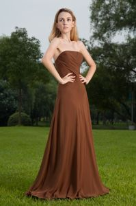 Strapless Brush Train Lace-up Brown Long Bridesmaid Dress Online