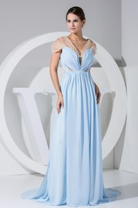 Brush Train Light Blue Bridesmaid Dress with Sheer Cap Sleeves