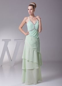 Girly Column Straps Tiered Apple Green Maid of Honor Dresses