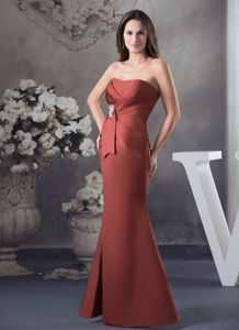 Cheap Satin Mermaid Rust Red Bridesmaid Dresses with Applique