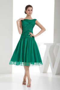 A-line Bateau Neck Beaded Ruched Green Junior Bridesmaid Dress
