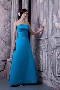A-line Strapless Lace-up Sky Blue Formal Dresses for Bridesmaid