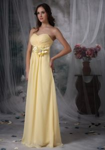 Pretty Sweetheart Light Yellow Floor-length Maid of Honor Dress
