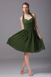 Halter Ruched A-Line Knee-length Bridesmaid Dress in Olive Green